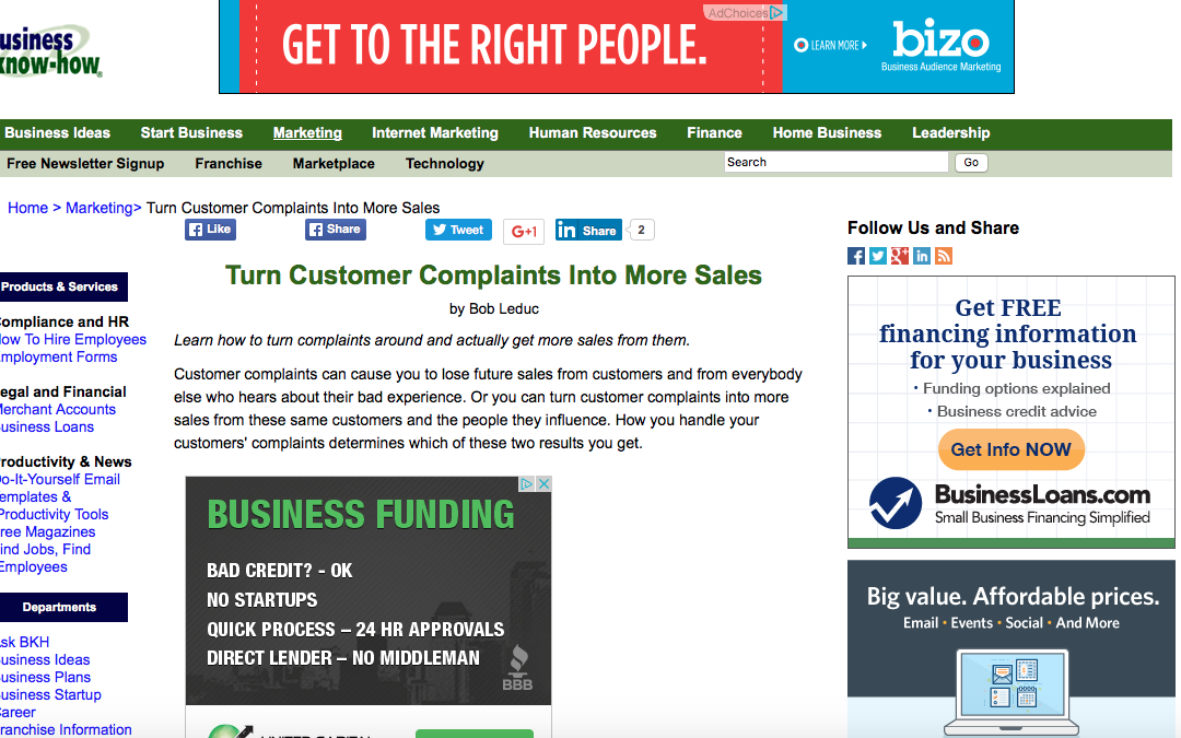Turn Customer Complaints Into More Sales