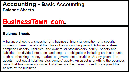 The Balance Sheet: Definitions and Uses