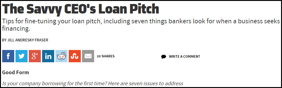 The Savvy CEO's Loan Pitch