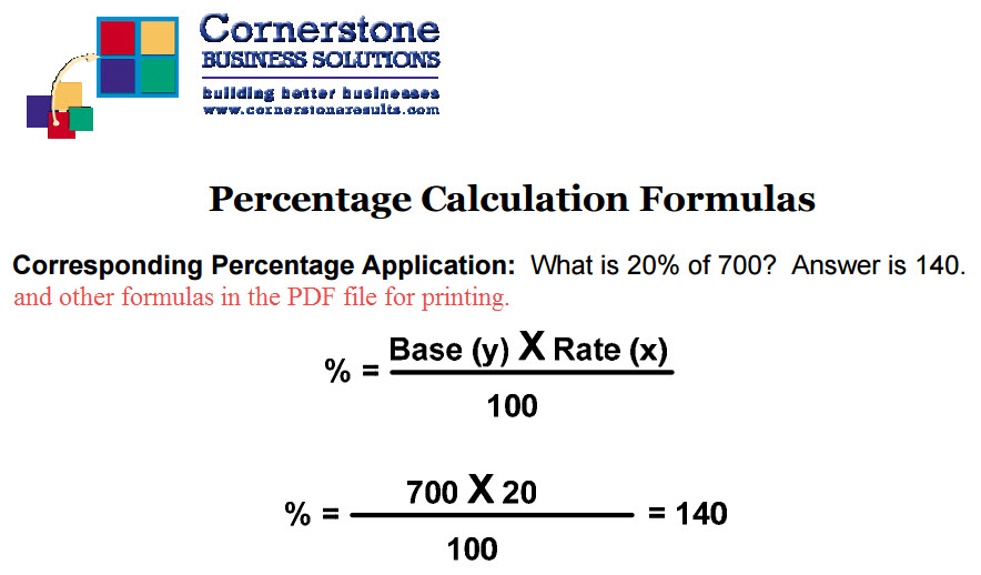 Percentage Calculation Formulas
