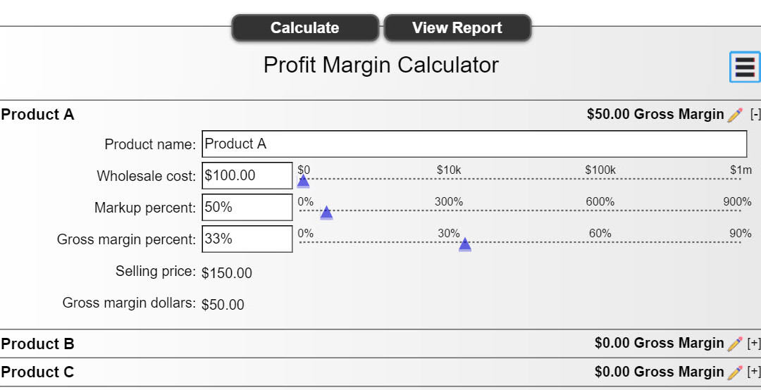 Margin and Mark-Up Calculators