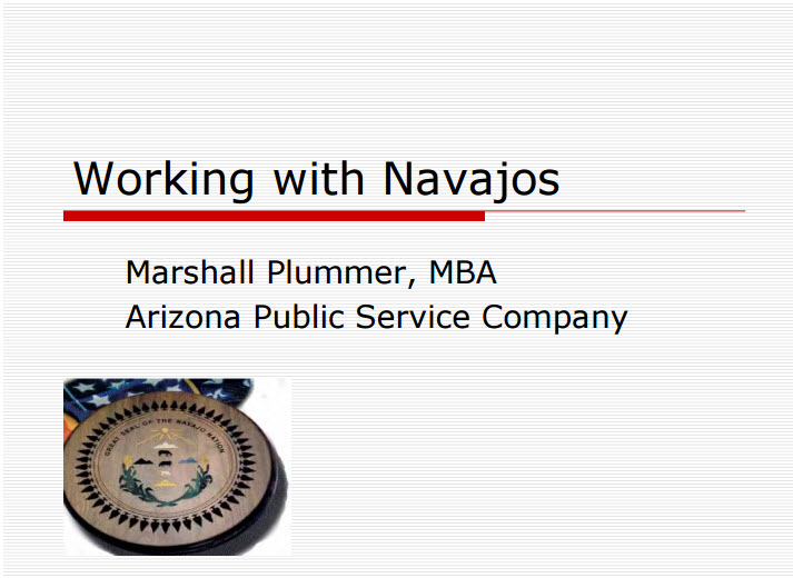 Working with Navajos (by Marshall Plummer)