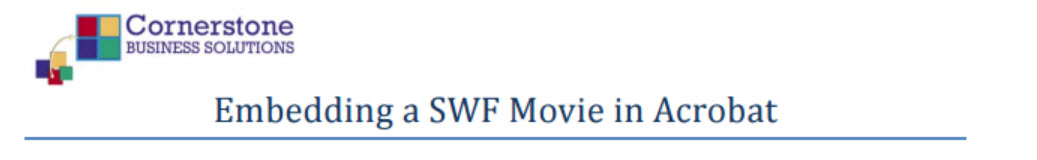 Embedding a SWF Movie into an Adobe Acrobat Document