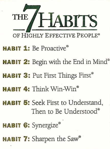 Implementing Covey's 7 Habits of Highly Successful People