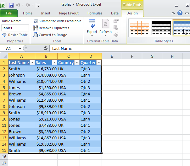 Putting MS Excel's Table Feature to Work for You