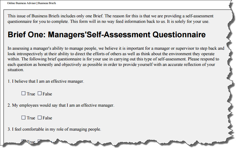 Manager's Self-Assessment Questionaire