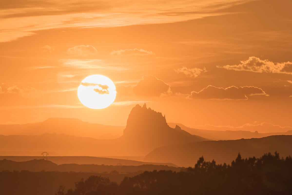 shiprock sunset  west of pinon mesa  nm